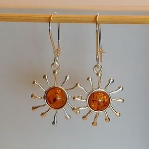 🆕 Amber Sun 925 Sterling Silver Wire Earrings